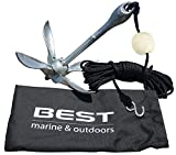 BEST Kayak Anchor for Canoes and Jet Skis - Galvanized Iron, Folding Boat Anchors Include a 40 FT Rope, Anchor Buoy Ball and a Stainless Steel Hook - 3.5lbs (1.36kg) - Great for Fishing