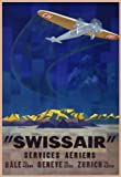 Vintage Travel SWITZERLAND Services Aeriens BALE Geneve ZURICH with SWISSAIR 250gsm ART CARD Gloss A3 Reproduction Poster