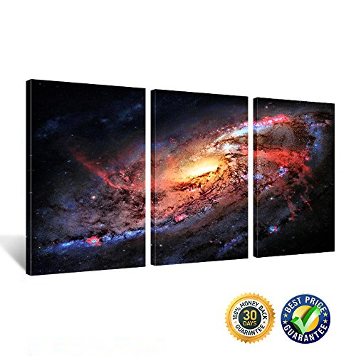Creative Art - Space and Universe Stretched Canvas Print - Space Landscape Paintings Wall Art Decor Universe Galaxy Stars 3 Piece Picture Print on Canvas for Modern Home Decoration Ready to Hang (Space And Universe Poster compare prices)
