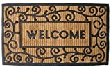 J & M Home Fashions Light Swirls Welcome Natural Coir and Rubber Doormat 18-Inch by 30-Inch