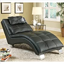 Big Sale Black Leather Like Chaise Contemporary By Coaster