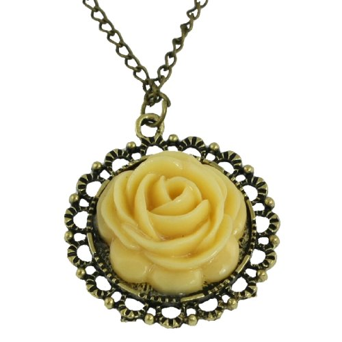 Rosallini Woman Ivory Rose Design Pendant Long Chain Sweater Necklace Bronze Tone