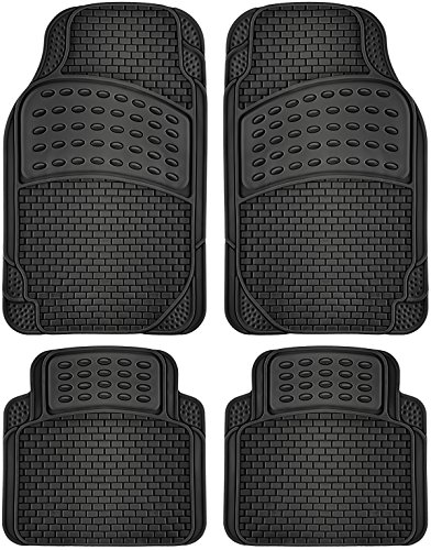 OxGord 4pc Rubber Floor Mats Universal Fit Front & Back Driver & Passenger Seat Heavy Duty for Car SUV Van and Truck - (Black) (Car Floor Mat Back Seat compare prices)