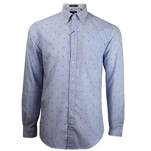 Gant Camicia da uomo a maniche lunghe blu/bianco a righe Blue/Blue XL