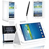 """White Samsung Galaxy Tab 3 7"""" Case-MOFRED® Retail Packed Executive Multi Function Standby Case For Samsung Galaxy Tab 3 7.0 -7 inch Tablet + Screen Protector + Stylus Pen (Available in Mutiple Colors)"""