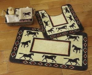 Western Horses Bathroom Rug Set