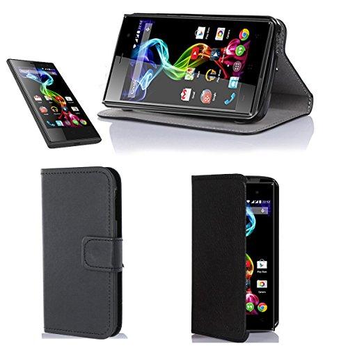 Nera Custodia Pelle Ultra Slim per Archos 45c Platinum smartphone 2014 - Flip Case Funda Cover protettiva Archos 45c Platinium (PU Pelle - Nero/Black) - XEPTIO accessori