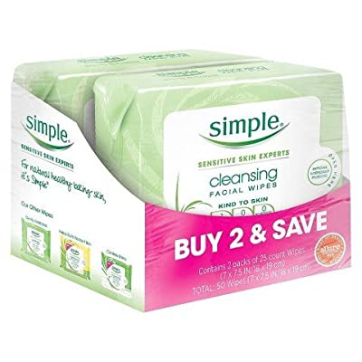 Simple Cleansing Facial Wipes 25 ct Twin Pack TRG