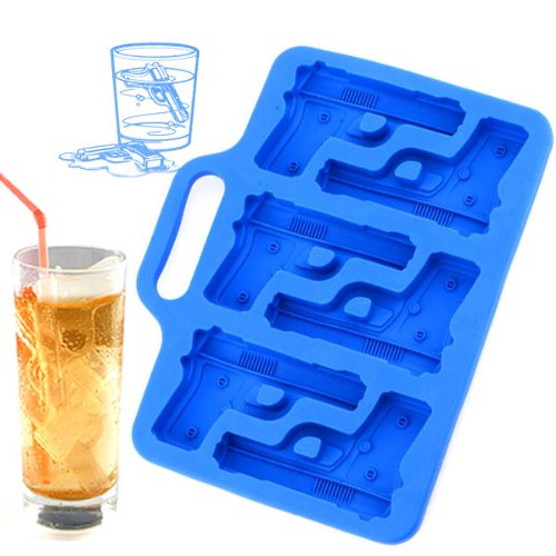 Novelty Soft 6-Pistol Ice Tray Mold - Blue 1 Package. front-259159