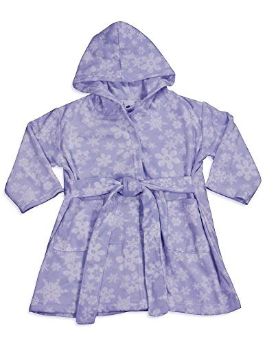Pegasus - Baby Girls Hooded Fleece Snowflake Robe, Lavender 32890-9-12Months
