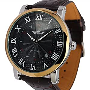 ESS Men's Black Dial Roman Numerals Leather Strap Self-Wind Up Automatic Mechanical Watch WM289