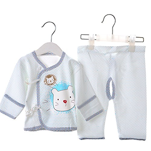 Hibaby Unisex Baby Newborn Cat Print Belted Monk Shirt and Pants 2PCs Set