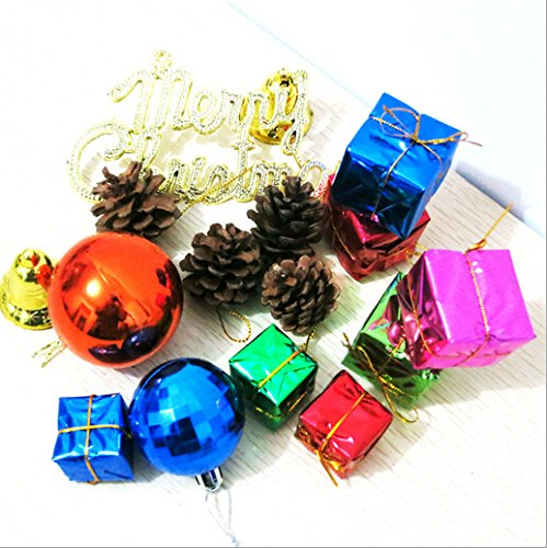 PETMALL 15pcs Christmas Tree Ornaments Pine cones Baubles Balls Xmas Tree Hanging Decoration Set JR-024