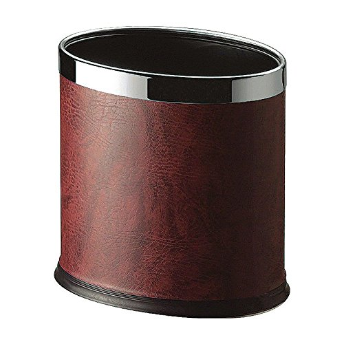 LUXEHOME Overlap Open Top Oval Leather Metal Trash Can, Capacity 8 Liter/2 Gal, Looks Attractive Without Liners, Assorted Color (Burgundy) (Cheap Bathroom Trash Can compare prices)