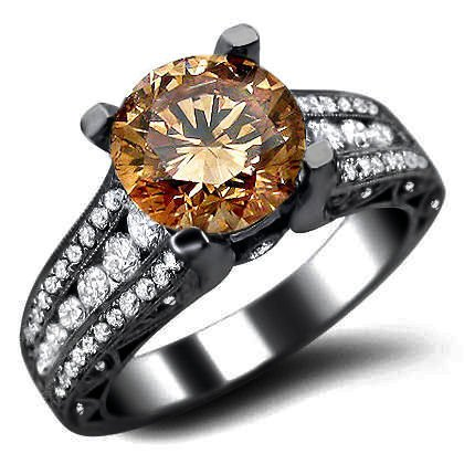 2.33ct Brown Round Diamond Engagement Ring 18k