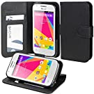 BLU Dash Jr 4.0 K Case, Abacus24-7 BLU Dash Jr K Case [Wallet, Stand, Card Slots] Flip Case for BLU D143K - Black