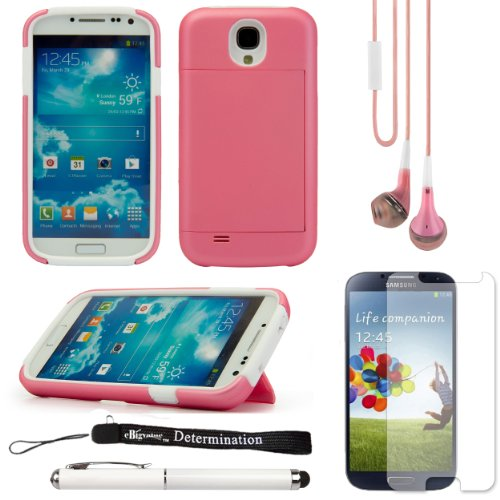 Pink 2-Piece Hard Protective Case With Credit Card Holder Slot And Stand For Samsung Galaxy S4 Android Smartphone 4G Lte (Jelly Bean) + Samsung Galaxy S4 Screen Guard Protector + Pink Crystal Clear High Quality Hd Noise Filter Handsfree Earbuds ( 3.5Mm Ja
