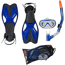 Gul Kids Tarpon Mask/Snorkel and Fin Set - Blue/Black, Large/X-Large