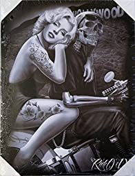 DGA Day of the Dead Marilyn Monroe Ride or Die Biker Stretched Wood Frame Canvas Wall Art 12x16 Inches - Hollywood Homegirl