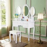 Tribesigns Vanity Makeup Table Set with Stool and Mirror (3 Mirror + 7...