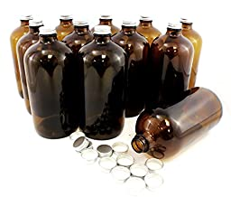 One Dozen 32-Ounce Amber Glass Kombucha Growler Bottles, Extra Lids Included; Empty Storage Containers for Home Brewing (12 Bottles & 24 Screw-On Lids)