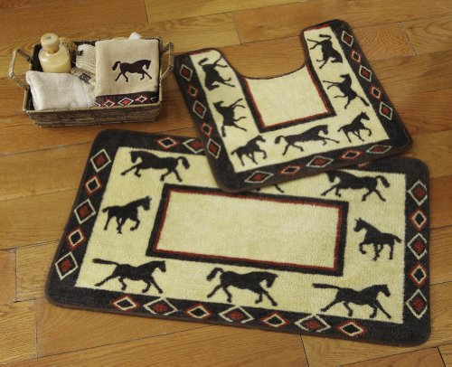 Western Horses Bathroom Rug Set By Collections Etc