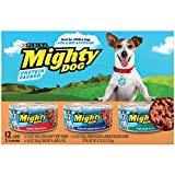 Purina Mighty Dog Small Breed Wet Dog Food Variety Pack, Hearty Beef, Smoked Chicken & Bacon Combo, Lamb & Rice - (2 Packs of 12) 5.5 oz. Cans