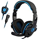 SADES SA-901 7.1 Surround Stereo Sound Noise Cancellation USB Gaming Headset With Mic Headband Headphone Black-Blue