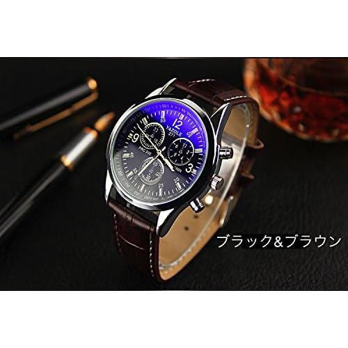 選べる 4 種類 メンズ クロノグラフ 腕 時計 高級 レザー 革 ベルト ビジネス ウォッチ シンプル おしゃれ スーツ 軽量 【 BOX & 時計拭き 付 】 (ブルー&ブラウン)
