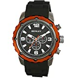 Henley Fashion Watch with Decorative Multi-Eye Dial Men's Quartz Watch with Black Dial Analogue Display and Black Silicone Strap H020818