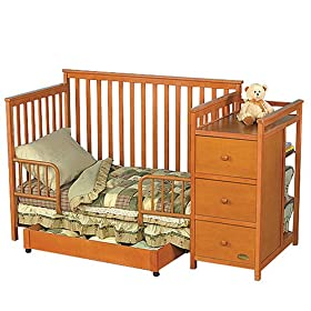 This Baby Crib And Bed Made Of Solid Wood And Hardwood, Cognac Finish.  Extra Large Bottom Drawer And Attached Changing Table Features  Nightstand Convertible ...
