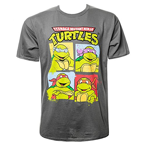 T Shirt Teenage Ninja Mutant Turtles Group Shot (Grigio) - Medium