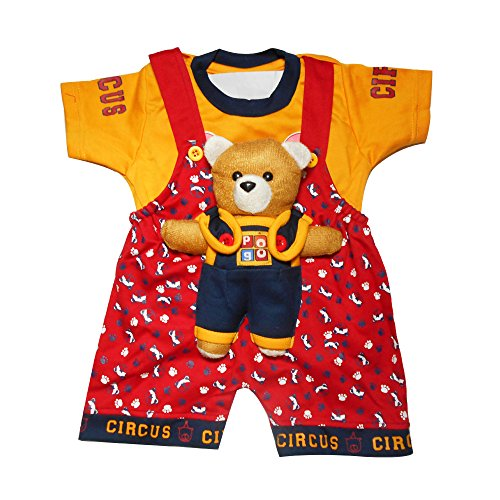 Baby boy dress for kids Baby Dungaree with Orange Tshirt with Purple teddy Rompers for Kids Clothing Set for Boys for 1 year old.