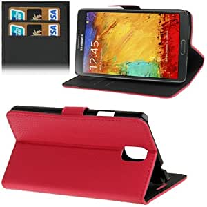 Litchi Texture Leather Case with Credit Card Slots & Holder for Samsung Galaxy Note 3 N9000 (Magenta)