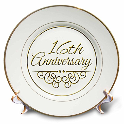 3dRose cp_154458_1 16th Anniversary Gift Gold Text for Celebrating Wedding Anniversaries 16 Years Married Together Porcelain Plate, 8-Inch