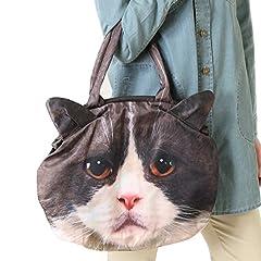 猫 フォト プリント ハンド バッグ はちわれ猫 大