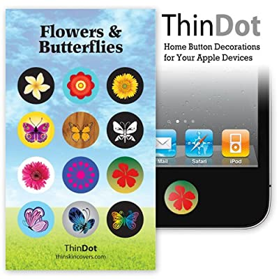 ThinDot Home Button Decals for iPad, iPhone and iPod Touch &quot;Flowers and Butterflies&quot;