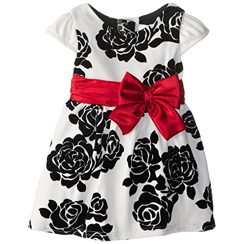 Youngland Little Girls' Flocked Floral Occasion Dress, White/Black, 4T