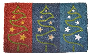 Imports Decor Printed Coir Doormat, Christmas Trees, 18-Inch by 30-Inch