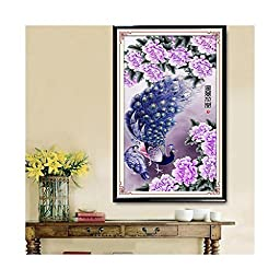 5D Diamond Painting Fortune comes with blooming flowers Peacock Diamond Stitch Living Room Cross Stitch Diamond Painting