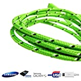 HD UltraTech - GREEN 1M Braided Micro USB Sync Data Charger Cable For Samsung Galaxy S2 S3 S4 Note 2 3 Ace Blackberry HTC Nokia LG Sony (Green)