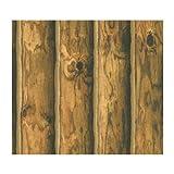 York Wallcoverings CH7980 Lake Forest Lodge Mountain Logs Wallpaper, Orange/Brown