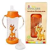 Top Rated-goglass borosilicato 10oz Biberón de vidrio (Naranja) libre de BPA con tetina y Vasito Boquilla incluidos-Mejor biberones para Preemie, recién nacidos, Niños, Regalos y niños ducha