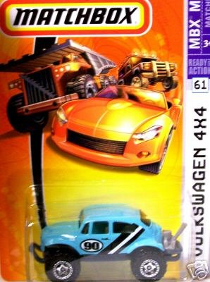 Mattel Matchbox 2007 MBX Metal 1:64 Scale Die Cast Car # 61 - Light Blue with Black and White Stripe Volkswagen 4X4 - 1