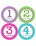 Months in Motion 200 Monthly Baby Stickers - Baby Girl - Month 1-12 - Milestone Age Sticker Photo