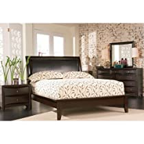 Big Sale 4pc King Size Platform Bedroom Set in Cappuccino Finish