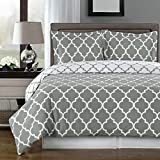 Super Luxurious 100% Egyptian Cotton 3 Piece Meridian Gray QUEEN Size Duvet Cover Set with Pillow Shams