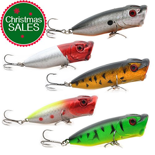 Lot 5pcs 0.46 ounces 2.56 inches Fishing Lures Floating Topwater Popper Poper Lure with Hooks Crankbait Hard Bait
