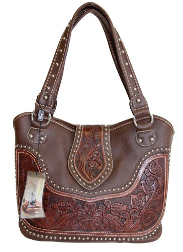 montana-west-ladies-concealed-gun-handbag-tooled-genuine-leather-dark-brown