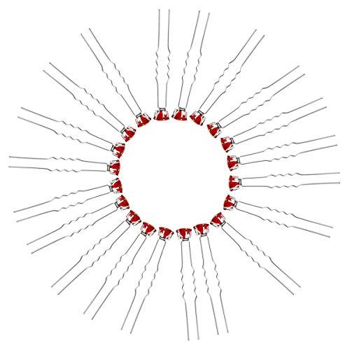 Tinksky Filles 20pcs délicates femmes mariage mariée Bling strass en forme de U en métal barettes pinces à cheveux (rouge)